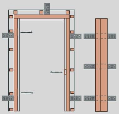 Закрепление дверного короба монтажными пластинами
